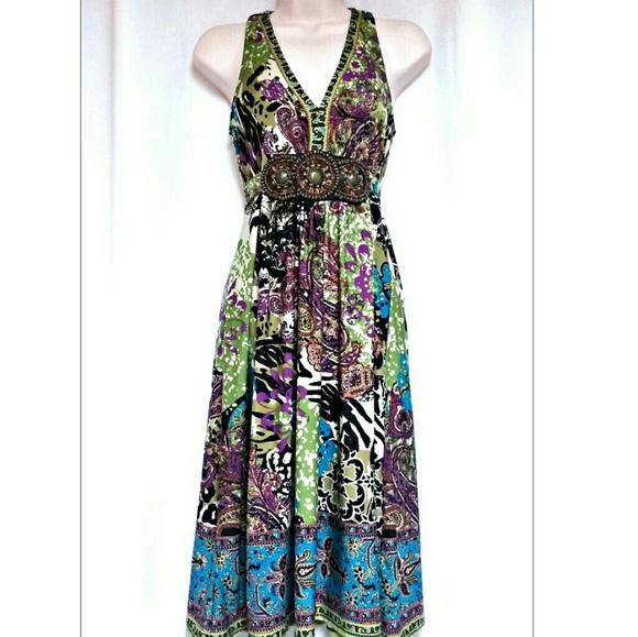 Dresses & Skirts - *SALE* Boho Beaded Accent Halter Look Dress  Small
